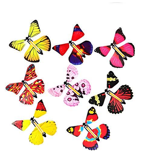 Mariposa Voladora,12 Piezas de Mariposa Voladora Mágica, Banda de Goma Mariposa,Regalo Sorpresa de Mariposa,Adecuado para Regalos de Cumpleaños, Educación Infantil, Regalos Sorpresa (Color Aleatorio)