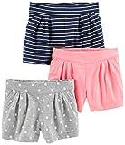 Simple Joys by Carter's - Pantalones cortos de punto para niñas pequeñas (3 unidades) ,Pink, Gray Dot, Navy Stripe ,US 2T (EU 92-98)
