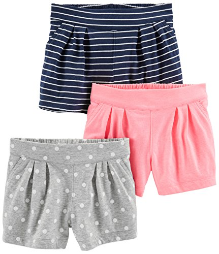 Simple Joys by Carter's Baby Girls' Toddler 3-Pack Knit Shorts, Pink, Gray Dot, Navy Stripe, 3T