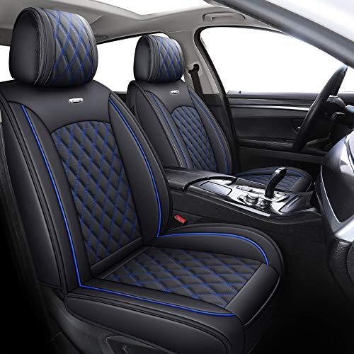 YIERTAI Car Seat Covers Full Set Waterproof Leather Protectors Universal Fit for Honda Nissan Toyota Hyundai Kai Ford Automotive Vehicle Auto Sedan SUV Truck(Full Set, Black-Blue)