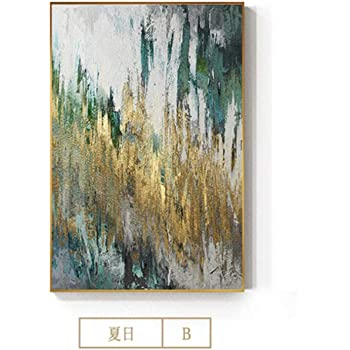 11.8x15.7 Canvas Painting Abstract Flowing Gold Foil Modern Green Poster Print Wall Art Picture for Living Room Lobby Art Framed Decor 30x40cm With Frame