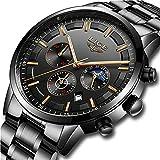 Watches Mens Full Steel Quartz Analog Wrist Watch Men Luxury Brand LIGE Waterproof Chronograph Watch Date Business Watch Casual Black Luxury