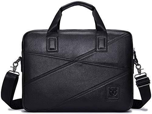 Leather Business Briefcase,Laptop Messenger Bag Vintage Cowhide Large Capacity Satchel with Strap Office Handbag Genuine Leather College Bag for Men and Women (Black)