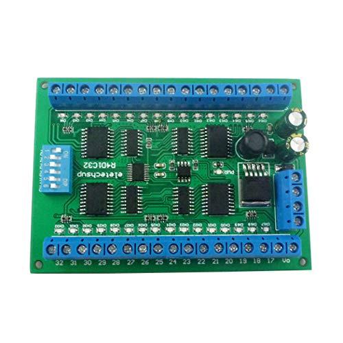 Eletechsup DC 6,5-30 V 32-Kanal-DIN35-C45-Schienenbox RS485 Modbus RTU-Controller 300MA-Treibermodul für SPS-Relaisschalter-LED-Motor (Nur Board)