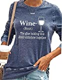 Wine Glue Holding This 2020 Shitshow Together Shirts Women's Long Sleeve Wine Lover Graphic Tops Blue M