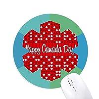 カナダ風味の幸せなカナダの日 円形滑りゴムの雪マウスパッド