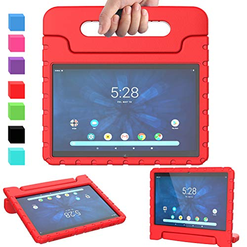 """AVAWO Kids Case for Walmart Onn 10.1"""" 2019, Onn 10.1 Tablet Case, Light Weight Shock Proof Convertible Handle Stand Kids Friendly Case for Walmart Onn 10.1 inch Android Tablet (2019 Release), Red"""