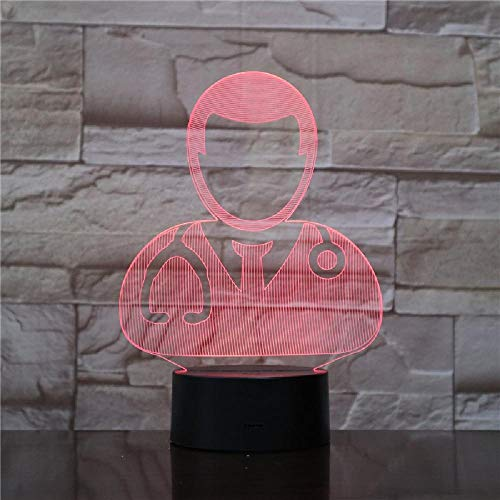 3D Led Illusion Lamp, Night Light 16 Colors Dimmable USB Powered Touch Christmas Birthday Gift for Kids with Remote Doctors