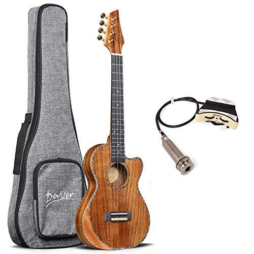 Tenor ukulele SOLID ACACIA Deviser 26 Inch cutaway Electric ukulele Soundhole pickup EQ Solid Top Electro Ukelele D12-26 Professional Ukele Ukalalee