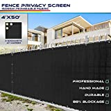 Windscreen4less Heavy Duty Privacy Screen Fence in Color Solid Black 4' x 50'...