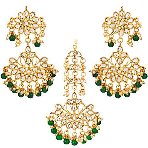 Indian Bollywood Pearl Bead Front Multi Color Maang tikka boucles d/'oreilles Set Bijoux