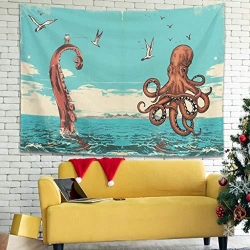 superyu Tapiz de pared para colgar en la pared, diseño de pesca con pulpo popular, para múltiples escenas, color blanco, 231 x 149 cm