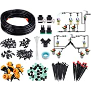"""CAVEEN Drip Irrigation Kit, 131ft/40M Garden Watering System, Adjustable Automatic Irrigation System, 1/4"""" Blank Distribution Tubing Water Irrigation Drippers (40M)"""