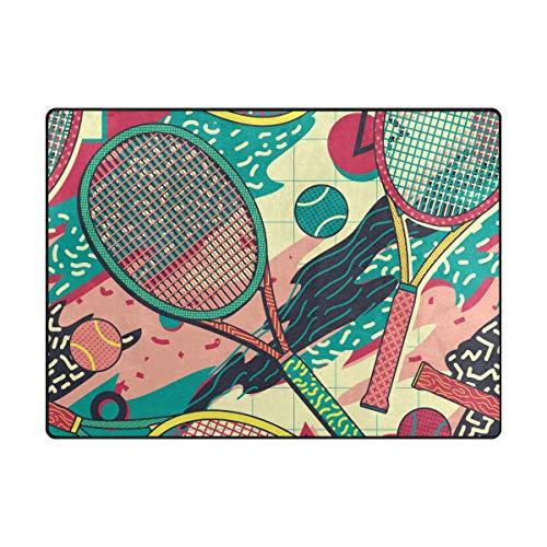 Colorida raqueta Pelota de tenis Área de alfombras Área de alfombra Alfombra antideslizante Área de pelusa Alfombra decorativa Alfombras de piso Alfombra decorativa Alfombra Alfombra de piso 72'X48'