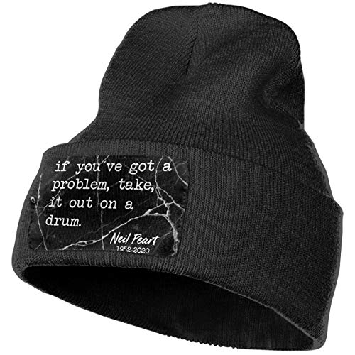 Men & Women Neil Memory-Peart in Loving Drummer Quote Outdoor Fashion Knit Beanies Hat Soft Winter Skull Caps Black