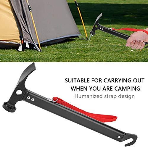 Zwindy Zelthammer, robuste Schwarze Aluminiumlegierung + multifunktionaler Campinghammer aus Kohlenstoffstahl für Campingwanderungen