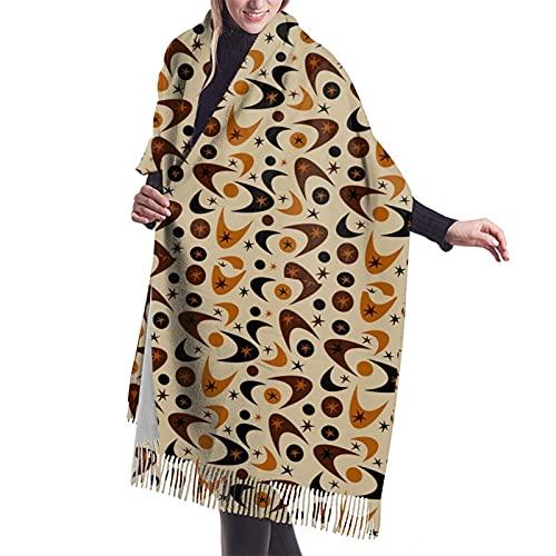 Sciarpa invernale morbida e calda sensazione di cachemire scialle pashmina avvolge le sciarpe stampate della nappa, Boomerang Marrone Metà Secolo Nero, Taglia unica