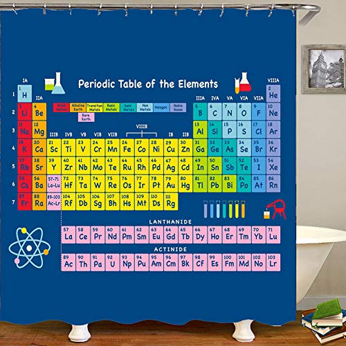 JSIHENA Periodensystem Duschvorhang aus The Big Bang Theory dauerhaft Einfach zu säubern Anti-Schimmel Badewannen-Vorhang aus Polyester,60