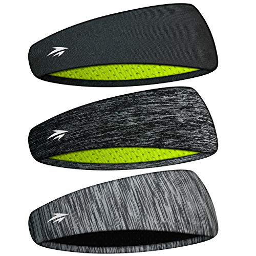 Zollen Mens Headbands 3 Packs Guys Sweatband and Sports Headband for Men for Running, Cross Training, Racquetball, Working Out, Performance Stretch and Moisture Wicking (B: Black, Light Gray, White)