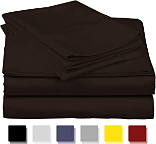 True Luxury 1000-Thread-Count 100% Egyptian Cotton Bed Sheets, 4-Pc King Dark Brown Sheet Set, Single Ply Long-Staple Yarns, Sateen Weave, Fits Mattress Upto 18'' Deep Pocket