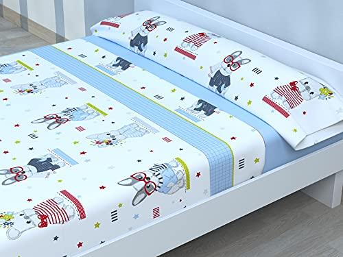 Juego de sábanas Infantiles de Microfibra Transpirable Mod. Perros (Cama de 90 cm (90_x_190/200 cm))