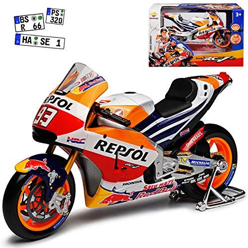 Maisto Hon-da RC213V Repsol Moto GP Weltmeister Version 2017 Marc Marquez Nr 93 1/10 Modell Motorrad mit individiuellem Wunschkennzeichen