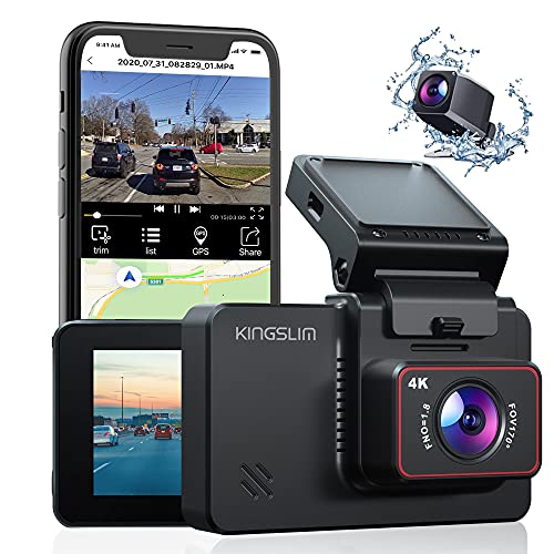 """Kingslim D4 4K Dual Dash Cam with Built-in WiFi GPS, Front 4K/2.5K Rear 1080P Dual Dash Camera for Cars , 3"""" IPS Touchscreen 170° FOV Dashboard Camera with Sony Starvis Sensor, Support 256GB Max"""