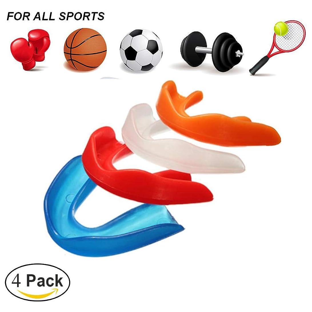 声を出して句余分なスポーツ用マウスピース,テコンドーボクシングの保護のための歯の装甲は口のサイズに合います(4パック)