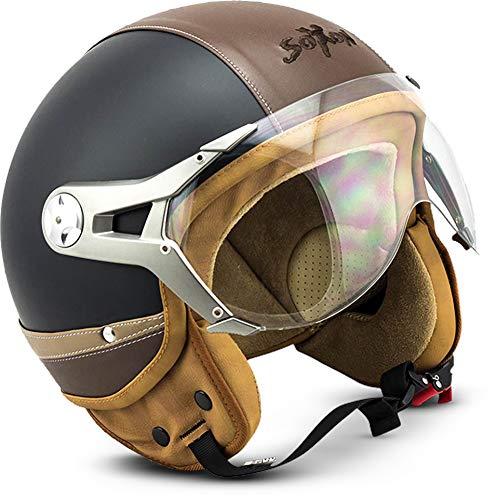 "SOXON® SP-325 Urban ""Black"" · Jet-Helm · Motorrad-Helm Roller-Helm Scooter-Helm Moped Mofa-Helm Chopper Retro Vespa Vintage · ECE 22.05 Visier Leather-Design Schnellverschluss Tasche XL (61-62cm)"