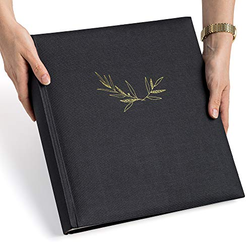 Premium Black Photo Album, Large Capacity, 100 Pages, Writing space, Multiple photo sizes, 4x6, 5x7, 6x8, 8x10, Dry Mount Acid-Free Scrapbook Album for Weddings, Family Pictures, Travel or Anniversary