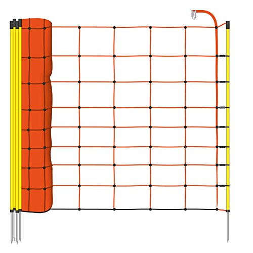 VOSS.farming 50m Schafnetz, 90cm, inkl. 14 Stäbe mit Metallpitze 1 Spitze, orange Litze, Elektrozaun-Netz, 1 Spitze, orange Litze