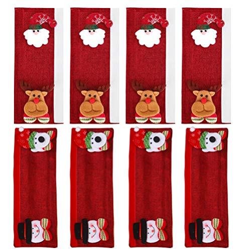 ABOOFAN 8 fundas para mango de Navidad, protector de mango de Papá Noel, muñeco de nieve para cocina, mango de microondas, funda para el hogar y la cocina (rojo)