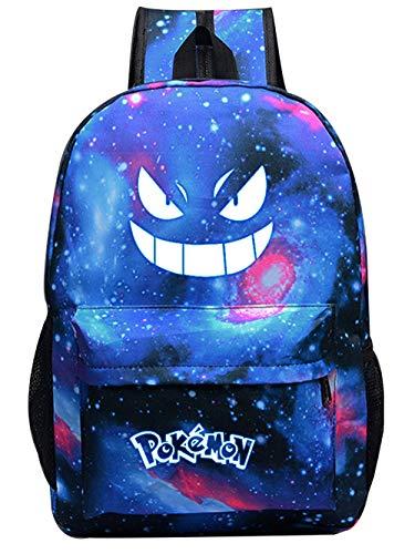 Pokemon Bolsa con ojos luminosos, mochila infantil para niños y niñas, mochila luminosa Pokémon mochila escolar