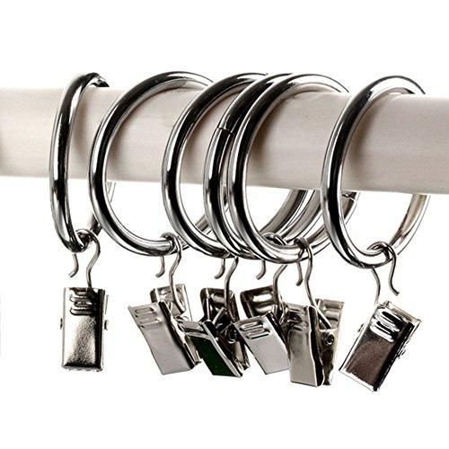 Gardinenringe mit Clips, Edelstahl, für Fenster, Gardinen, Clips, Ringe zum Aufhängen, für Badezimmer, Café, Fenster und Vorhänge, 20 Stück Free Size silber