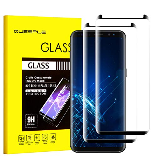 QUESPLE [2-Pack] Samsung Galaxy S8 Screen Protector, 3D Curved Tempered [Anti-Bubble][9H Hardness][HD Clear][Anti-Scratch] Compatible Samsung Galaxy S8