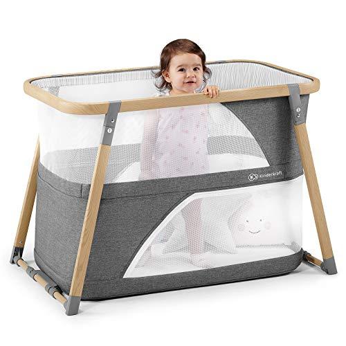 Kinderkraft Kinderreisebett SOFI 4 in 1 Babybetten Kinderbett Baby Zustellbett Reisebett mit Zubehör mit Laufgitterfunktion modernes Design kleine Abmessungen nach Zusammenklappe - 4