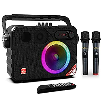 """Portable Karaoke Machine VeGue Bluetooth PA System with 6.5"""" Subwoofer Colorful LED Lights 2 UHF Wireless Mics Ideal for Various Indoor/Outdoor Activities VS-0650"""
