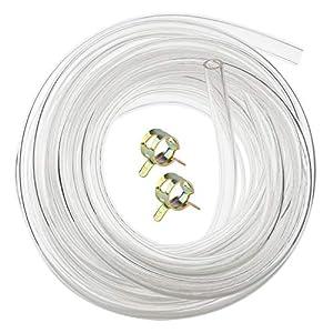 Hyber&Cara - Tubo de PVC transparente flexible de grado alimenticio, 8 mm de diámetro interior x 11 mm de diámetro exterior para tuberías de aire de 5 metros con 2 abrazaderas de manguera