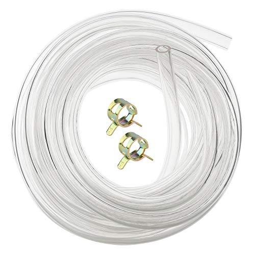 Hyber&Cara Tubo de PVC flexible transparente de grado alimentario de 8 mm de diámetro interior x 11 mm de diámetro exterior manguera de aire de 5 metros con 2 abrazaderas de manguera