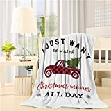 Flannel Throw Blanket I Just to Watch Christmas Movie All Day Red Retro Plaid Trucker with Xmas Tree Lightweight Cozy Bed Blankets for Couch Sofa Suitable for All Season 49x59 inch