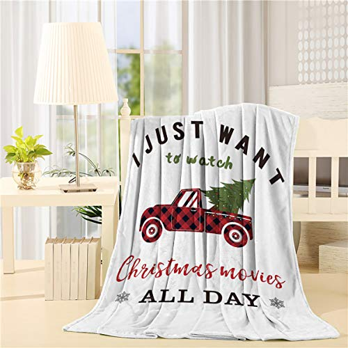Flannel Throw Blanket I Just to Watch Christmas Movie All Day Red Retro Plaid Trucker with Xmas Tree Lightweight Cozy Bed Blankets for Couch Sofa Suitable for All Season 39x49 inch