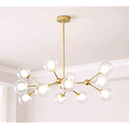 Dellemade XD00940 Sputnik Chandelier for Bedroom, Globe Ceiling Light for Living Room, 12 Lights,G9 LED Bulbs Included, Golden