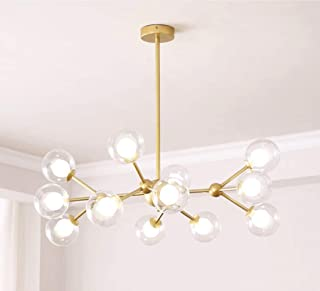 Dellemade XD00940 Sputnik Chandelier for Bedroom, Globe Ceiling Light for Living Room, 12 Lights,G4 LED Bulbs Included, Golden
