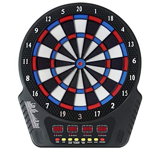 FITTIME Dartscheibe Elektronisch Elektronisch Dartscheibe Profi,E Dartboards mit 6 Dartpfeile, Ersatzsspitzen, 27 Spielen und 243 Varianten für 16 Spieler
