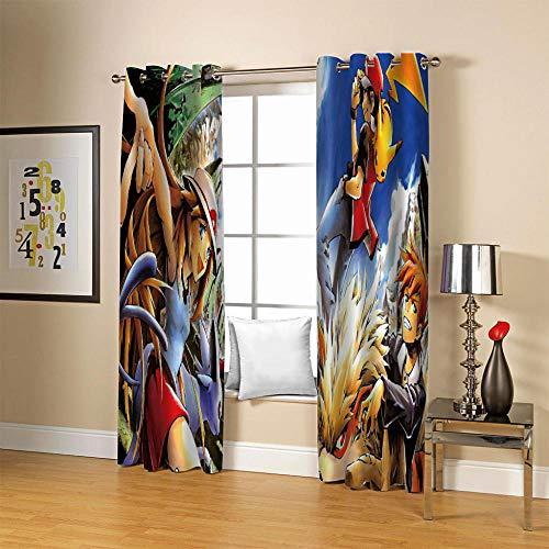 LJUKO Cortina Opaca en Cocina el Salon dormitorios habitación Infantil 3D Impresión Digital Ojales Cortinas termica - 234x183 cmAnime Mascotas Duende niños