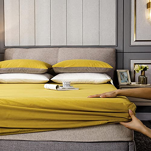 GaoTianyou Sábana Ajustable de algodón Colcha Antideslizante Funda de Cama Queen Doble Individual Doble King Super King-Size Protector de colchón-Yellow_90cmx200cm + 30cm (1pcs)