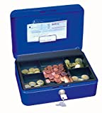 Wedo 145303H - Caja metálica para dinero (2 llaves, soporte para monedas desprendible, acero soldado, 25 x 18 x 9 cm), color...