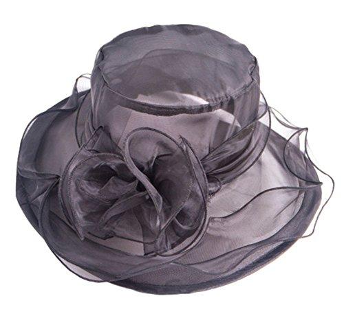 Leisial Sombrero de Gasa Organza Playa Redonda Gorro de Sol Sombrero c