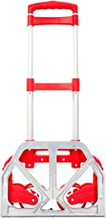 Portable Aluminium Cart Folding Dolly Push Truck Hand Collapsible Trolley Luggage Four Colors (Red)