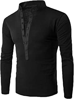 omniscient Mens Vintage Classic Cotton Solid Henley T-Shirts Long Sleeve V Neck with Button